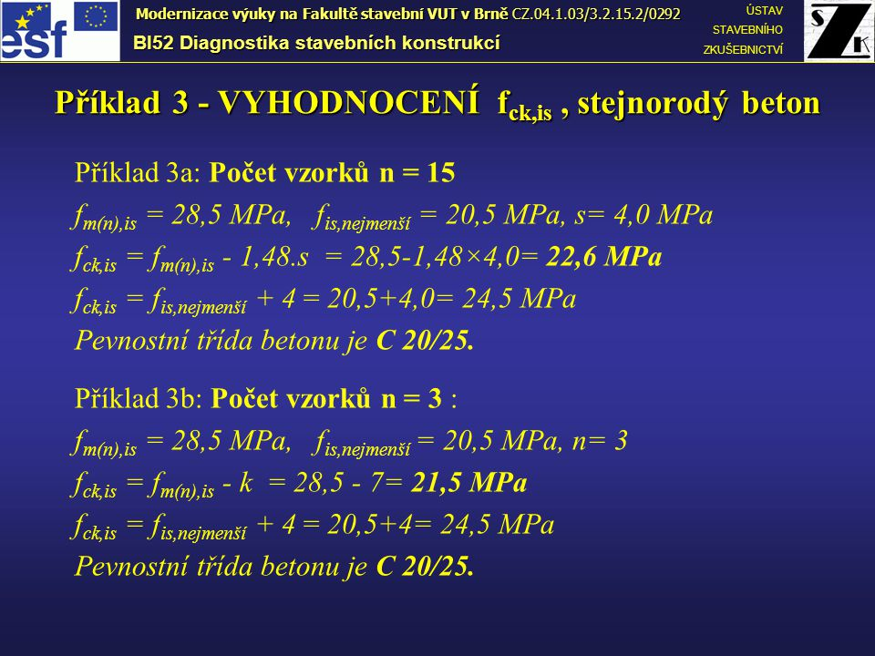 Příklad 3a: Počet vzorků n = 15 f m(n),is = 28,5 MPa, f is,nejmenší = 20,5 MPa, s= 4,0 MPa f ck,is = f m(n),is - 1,48.s = 28,5-1,48×4,0= 22,6 MPa f ck,is = f is,nejmenší + 4 = 20,5+4,0= 24,5 MPa Pevnostní třída betonu je C 20/25.