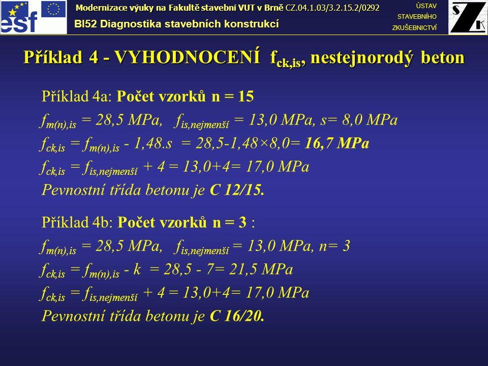 Příklad 4a: Počet vzorků n = 15 f m(n),is = 28,5 MPa, f is,nejmenší = 13,0 MPa, s= 8,0 MPa f ck,is = f m(n),is - 1,48.s = 28,5-1,48×8,0= 16,7 MPa f ck,is = f is,nejmenší + 4 = 13,0+4= 17,0 MPa Pevnostní třída betonu je C 12/15.