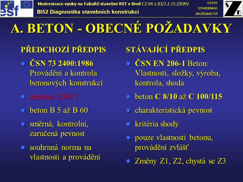 A. BETON - OBECNÉ POŽADAVKY PŘEDCHOZÍ PŘEDPIS ČSN 73 2400:1986 Provádění a kontrola betonových konstrukcí ČSN 73 2400:1986 Provádění a kontrola betono