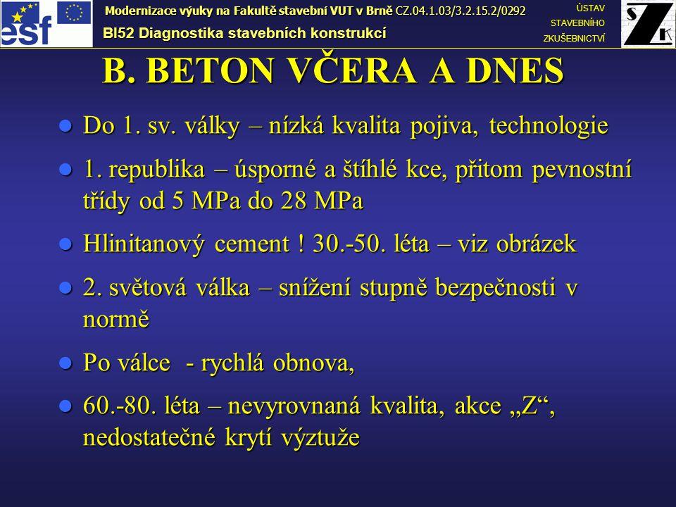 B. BETON VČERA A DNES Do 1. sv. války – nízká kvalita pojiva, technologie Do 1. sv. války – nízká kvalita pojiva, technologie 1. republika – úsporné a