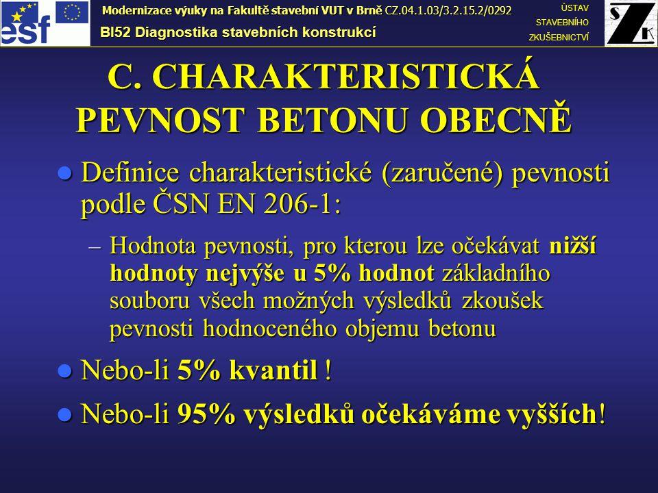 C. CHARAKTERISTICKÁ PEVNOST BETONU OBECNĚ Definice charakteristické (zaručené) pevnosti podle ČSN EN 206-1: Definice charakteristické (zaručené) pevno