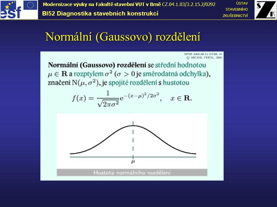 BI52 Diagnostika stavebních konstrukcí ÚSTAV STAVEBNÍHO ZKUŠEBNICTVÍ Modernizace výuky na Fakultě stavební VUT v Brně CZ.04.1.03/3.2.15.2/0292 Normální (Gaussovo) rozdělení