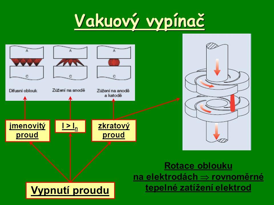 Vakuový vypínač Vypnutí proudu jmenovitý proud I > I n zkratový proud Rotace oblouku na elektrodách  rovnoměrné tepelné zatížení elektrod