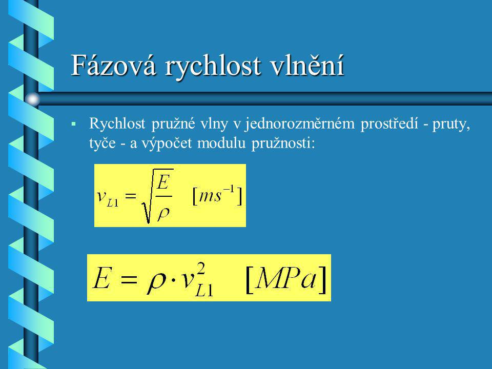 Fázová rychlost vlnění   Rychlost pružné vlny v jednorozměrném prostředí - pruty, tyče - a výpočet modulu pružnosti:
