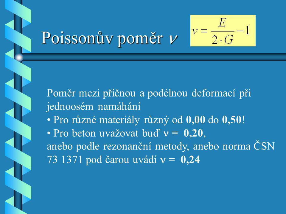Poissonův poměr Poissonův poměr Poměr mezi příčnou a podélnou deformací při jednoosém namáhání Pro různé materiály různý od 0,00 do 0,50! Pro beton uv