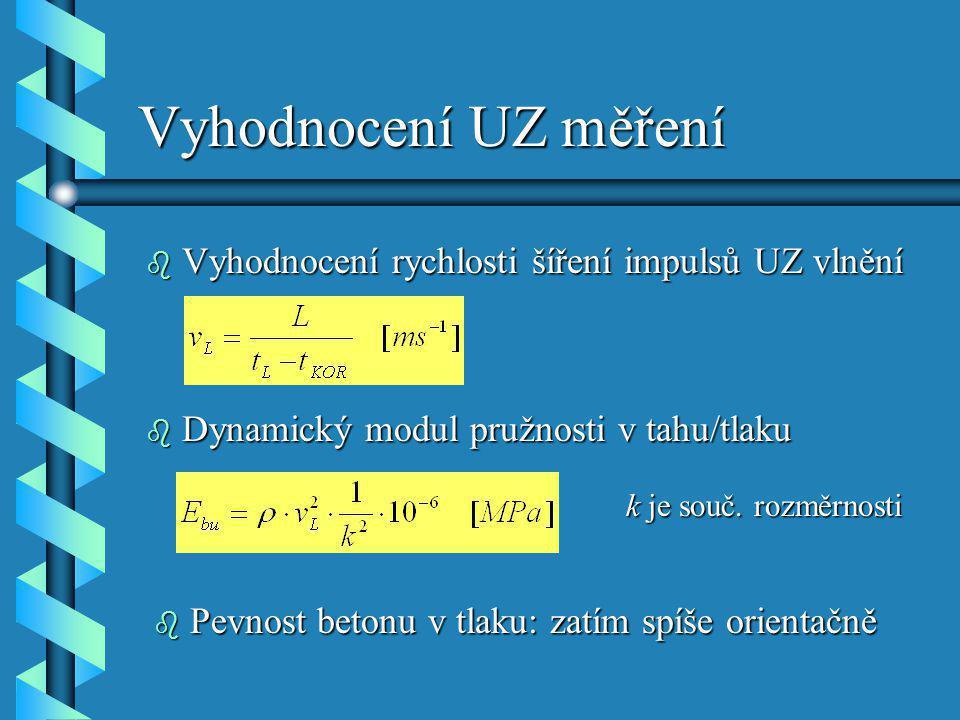 Vyhodnocení UZ měření b Vyhodnocení rychlosti šíření impulsů UZ vlnění b Dynamický modul pružnosti v tahu/tlaku k je souč. rozměrnosti b Pevnost beton