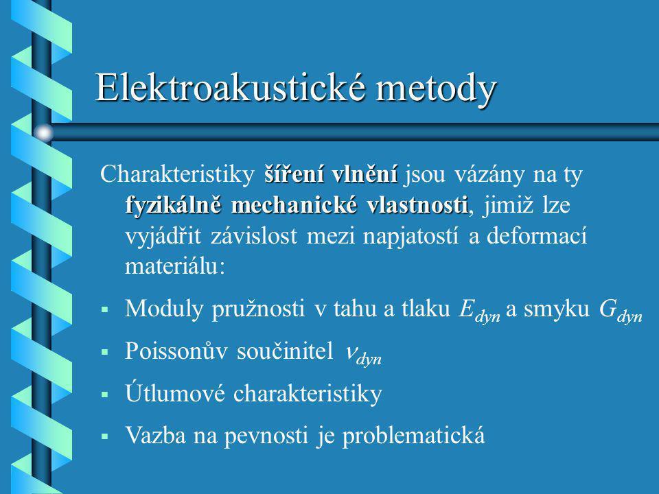 Elektroakustické metody šíření vlnění fyzikálně mechanické vlastnosti Charakteristiky šíření vlnění jsou vázány na ty fyzikálně mechanické vlastnosti,