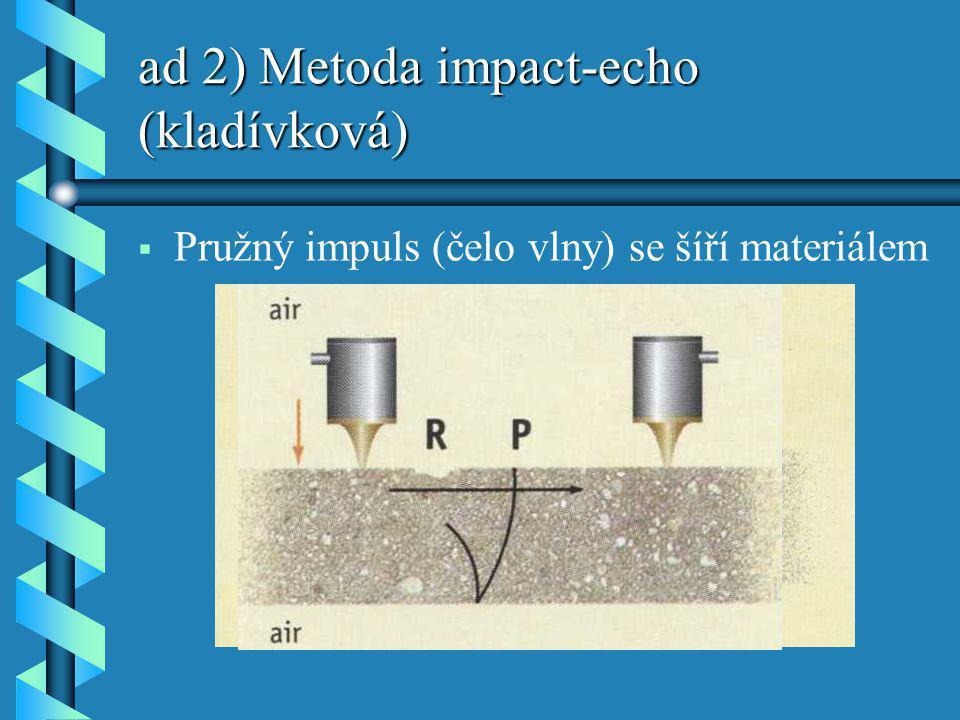 ad 2) Metoda impact-echo (kladívková)   Pružný impuls (čelo vlny) se šíří materiálem