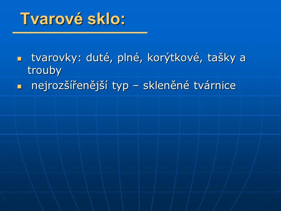 - př.duté skleněné tvarovky – LUXFERY (nesměly být použity pro nosné konstrukce) - př.