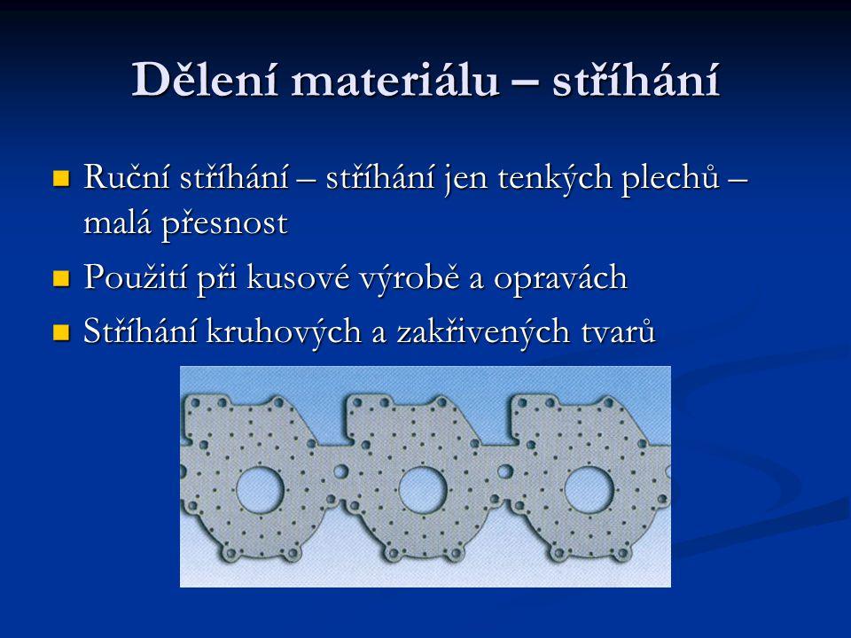 Dělení materiálu – stříhání Ruční stříhání – stříhání jen tenkých plechů – malá přesnost Ruční stříhání – stříhání jen tenkých plechů – malá přesnost Použití při kusové výrobě a opravách Použití při kusové výrobě a opravách Stříhání kruhových a zakřivených tvarů Stříhání kruhových a zakřivených tvarů