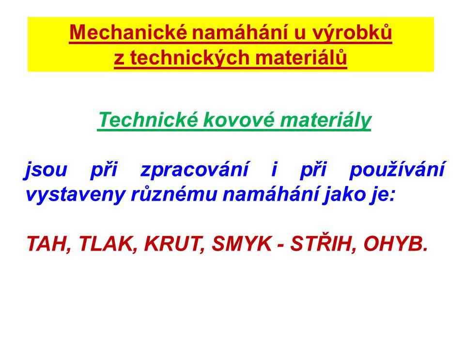 Mechanické vlastnosti technických kovů Aby materiál mohl odolávat těmto namáháním, musí mít určité vlastnosti jako: Pevnost Tvrdost Pružnost Tvárnost Houževnatost