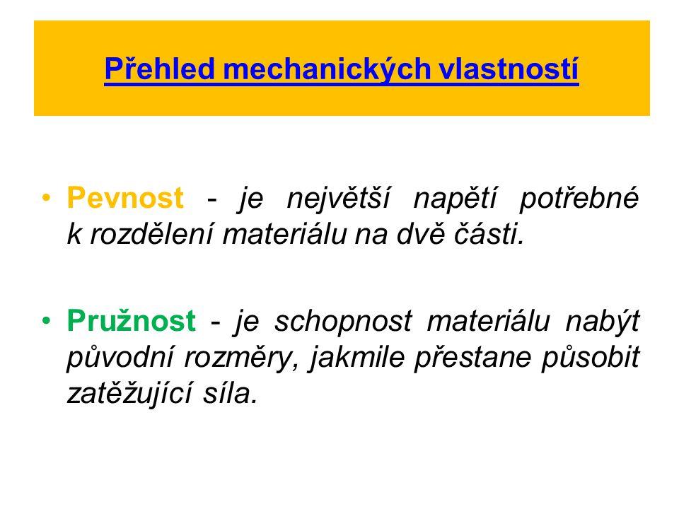 Přehled mechanických vlastností Pevnost - je největší napětí potřebné k rozdělení materiálu na dvě části. Pružnost - je schopnost materiálu nabýt půvo