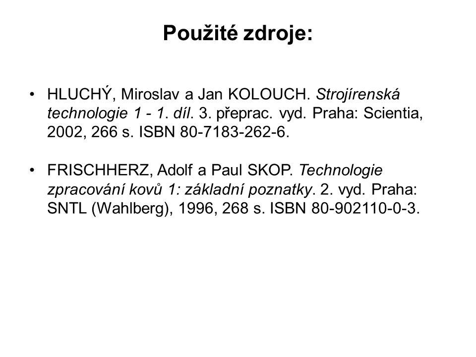 Použité zdroje: HLUCHÝ, Miroslav a Jan KOLOUCH. Strojírenská technologie 1 - 1. díl. 3. přeprac. vyd. Praha: Scientia, 2002, 266 s. ISBN 80-7183-262-6