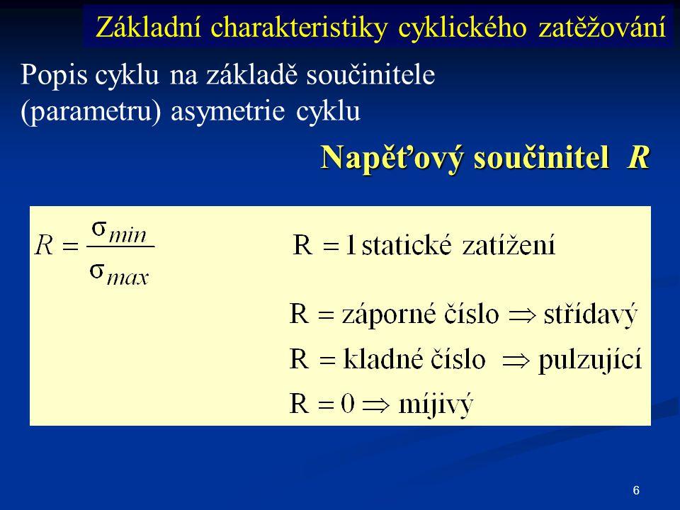 6 Popis cyklu na základě součinitele (parametru) asymetrie cyklu Napěťový součinitel R Základní charakteristiky cyklického zatěžování