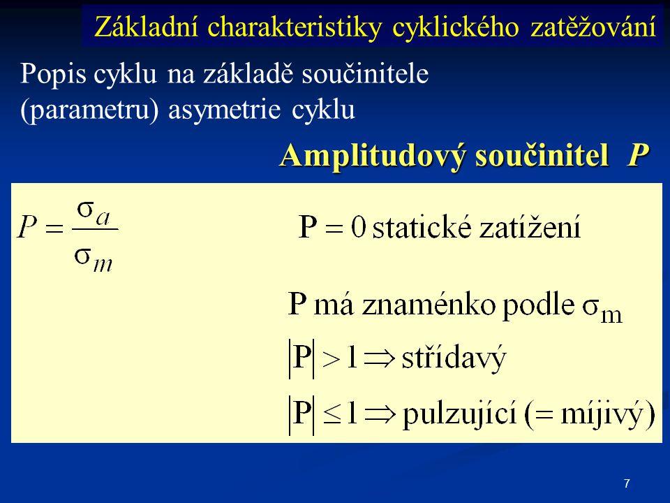 7 Popis cyklu na základě součinitele (parametru) asymetrie cyklu Základní charakteristiky cyklického zatěžování Amplitudový součinitel P