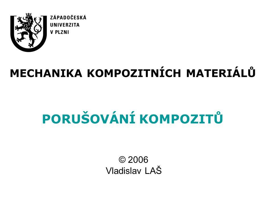 Porušování kompozitních materiálů Úvod Lomové procesy vyvolané v jednosměrovém kompozitu Mikromechanická kritéria porušení Makromechanická kritéria porušení a lomová pevnost Metoda postupného porušování laminátu Závěr