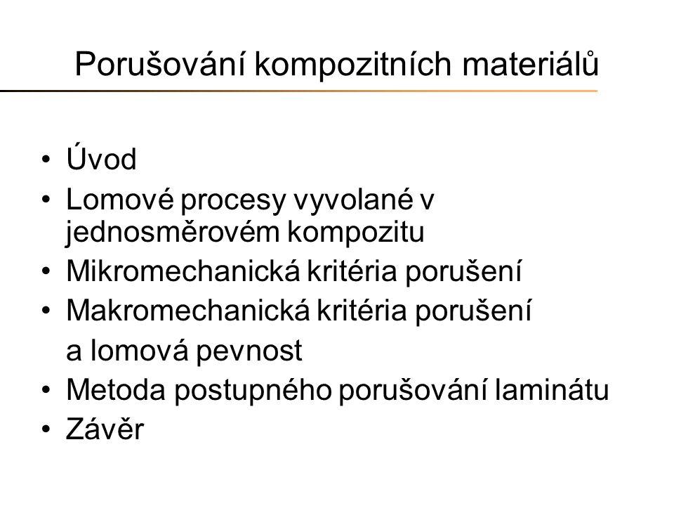 Porušování kompozitních materiálů Úvod Lomové procesy vyvolané v jednosměrovém kompozitu Mikromechanická kritéria porušení Makromechanická kritéria po