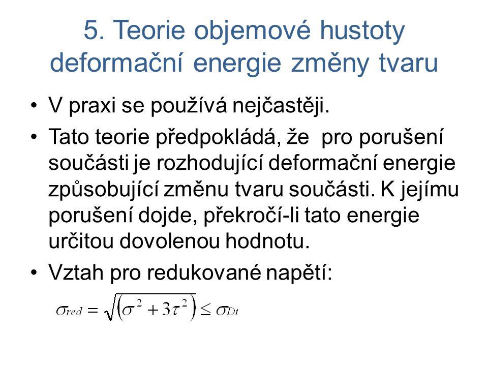 5. Teorie objemové hustoty deformační energie změny tvaru V praxi se používá nejčastěji.