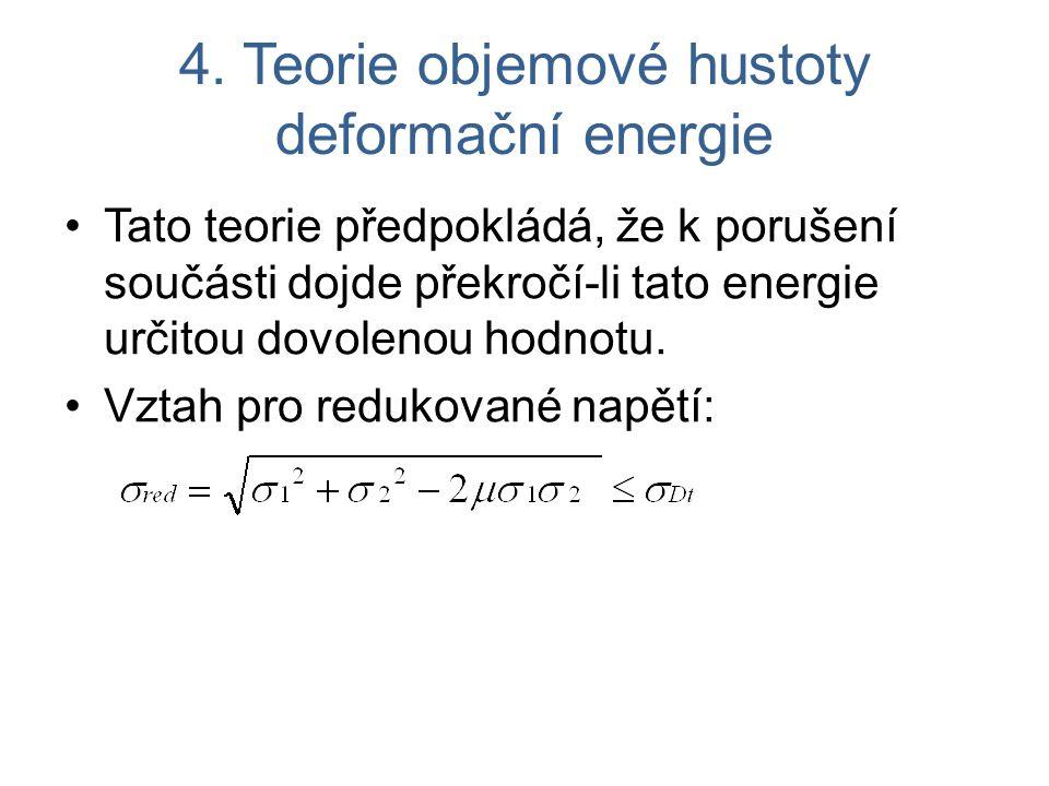 4. Teorie objemové hustoty deformační energie Tato teorie předpokládá, že k porušení součásti dojde překročí-li tato energie určitou dovolenou hodnotu
