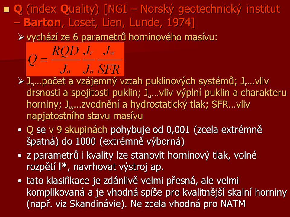 Q (index Quality) [NGI – Norský geotechnický institut – Barton, Loset, Lien, Lunde, 1974] Q (index Quality) [NGI – Norský geotechnický institut – Bart