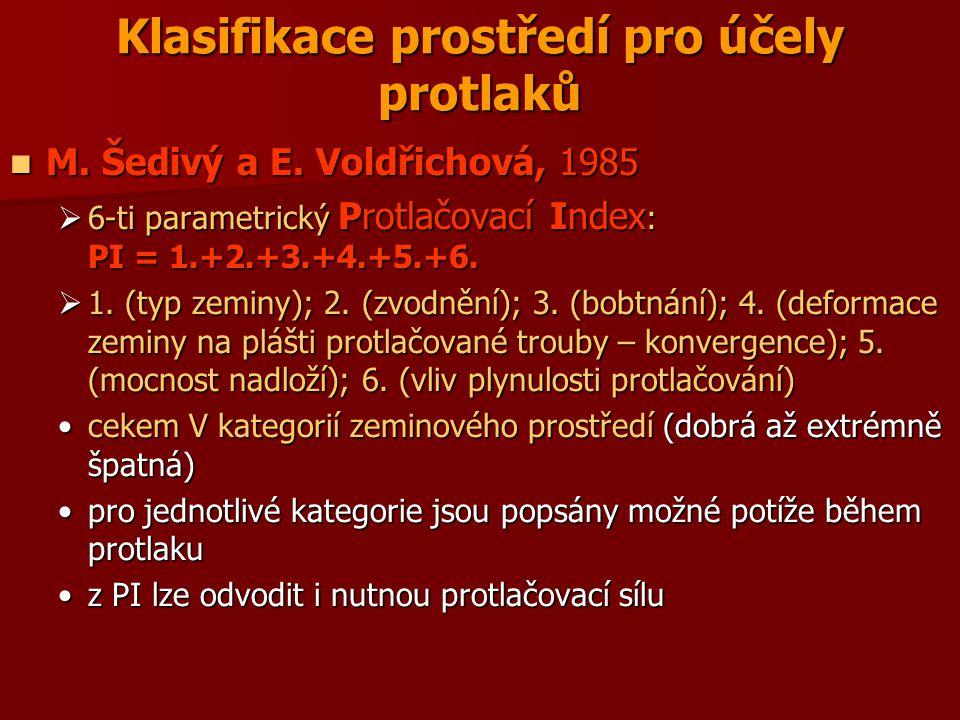 Klasifikace prostředí pro účely protlaků M. Šedivý a E. Voldřichová, 1985 M. Šedivý a E. Voldřichová, 1985  6-ti parametrický Protlačovací Index : PI