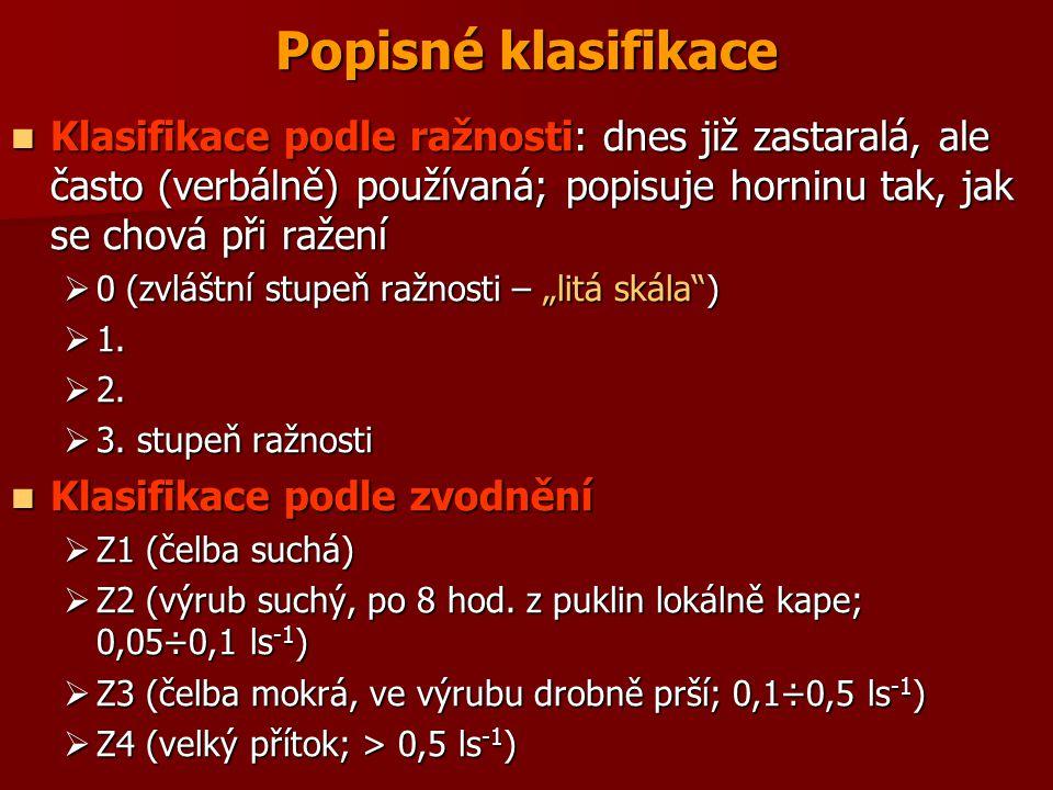 Popisné klasifikace Klasifikace podle ražnosti: dnes již zastaralá, ale často (verbálně) používaná; popisuje horninu tak, jak se chová při ražení Klas