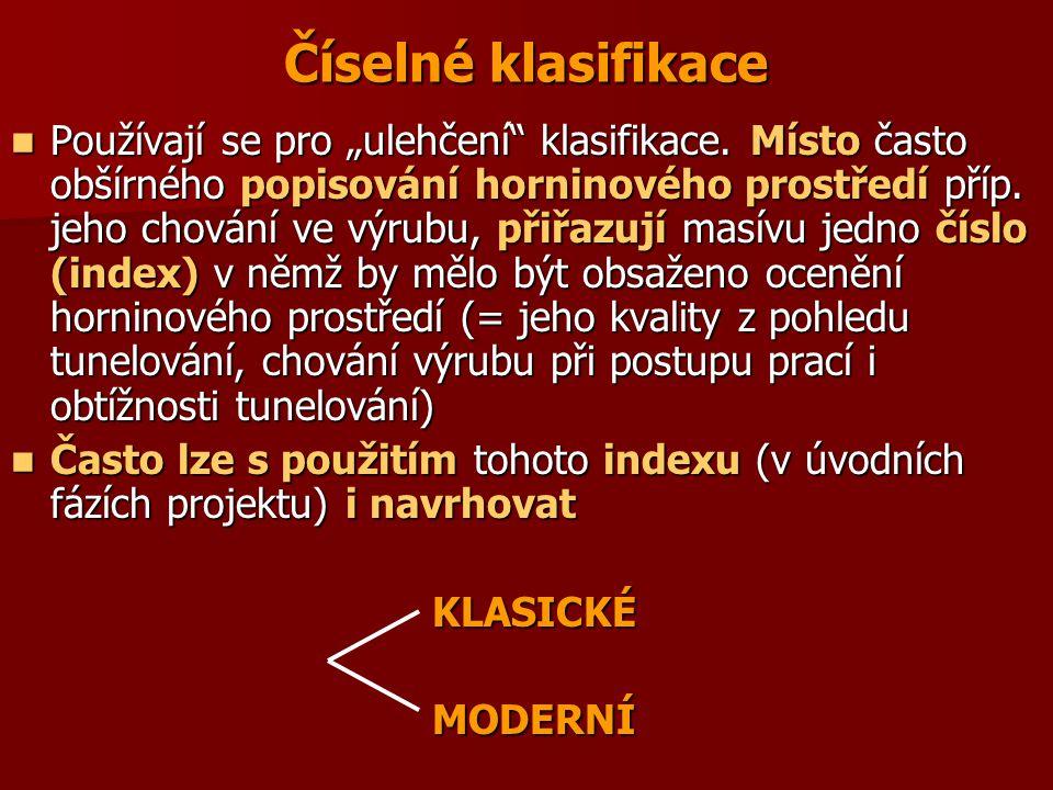 Číselné klasifikace klasické (1 parametr) Klasifikace podle M.