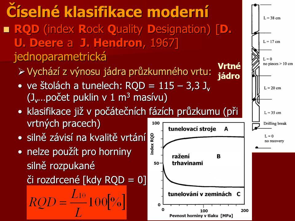 Číselné klasifikace moderní RQD (index Rock Quality Designation) [D. U. Deere a J. Hendron, 1967] jednoparametrická RQD (index Rock Quality Designatio