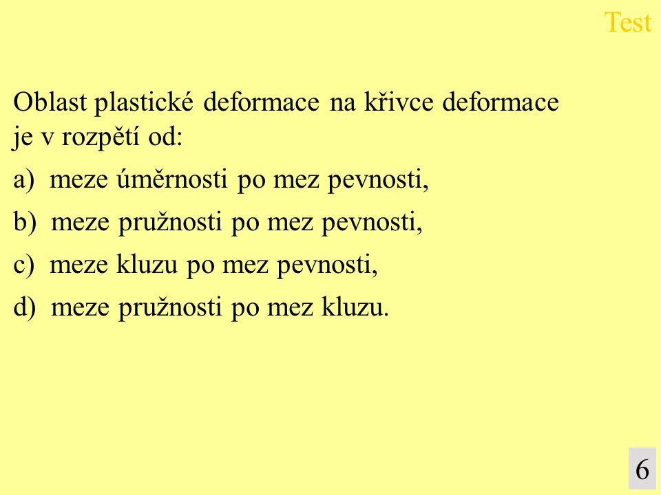 Oblast plastické deformace na křivce deformace je v rozpětí od: a) meze úměrnosti po mez pevnosti, b) meze pružnosti po mez pevnosti, c) meze kluzu po