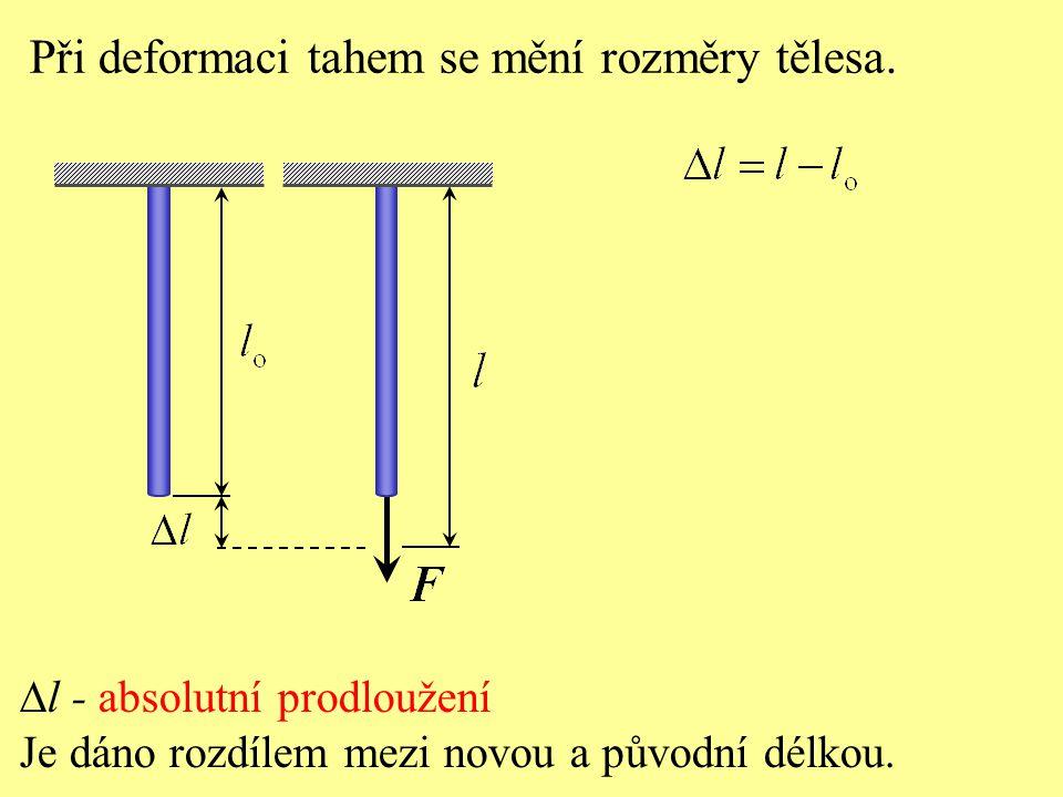 Při deformaci tahem se mění rozměry tělesa.  l - absolutní prodloužení Je dáno rozdílem mezi novou a původní délkou.