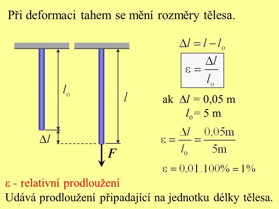 Při deformaci tahem se mění rozměry tělesa.  - relativní prodloužení Udává prodloužení připadající na jednotku délky tělesa. ak  l = 0,05 m l o = 5