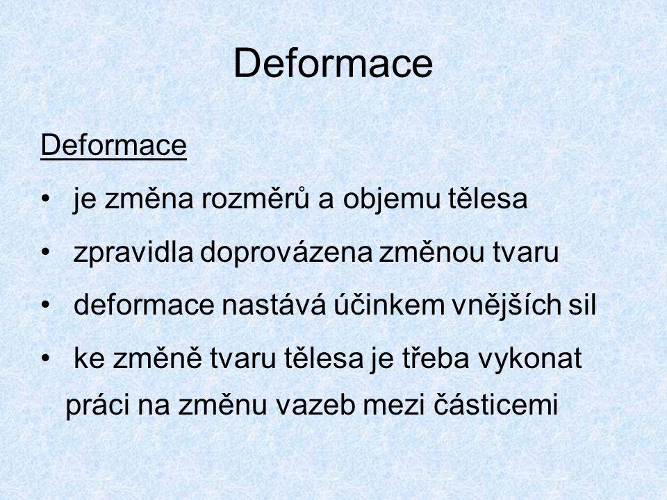 Deformace je změna rozměrů a objemu tělesa zpravidla doprovázena změnou tvaru deformace nastává účinkem vnějších sil ke změně tvaru tělesa je třeba vy