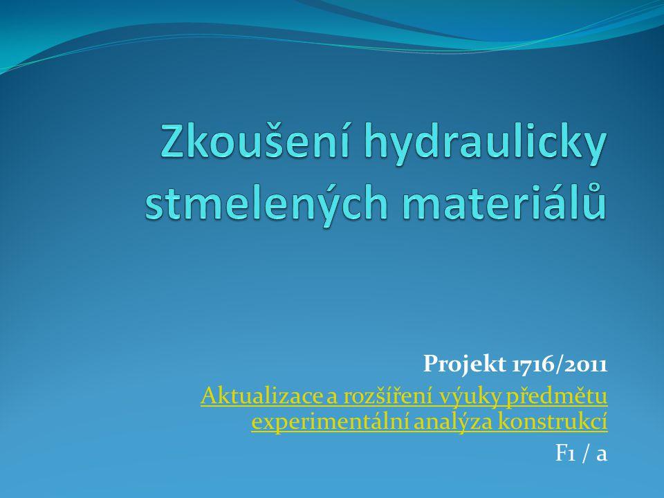 Projekt 1716/2011 Aktualizace a rozšíření výuky předmětu experimentální analýza konstrukcí F1 / a
