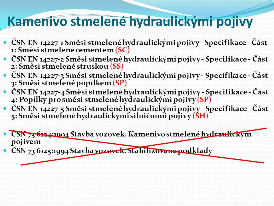 Kamenivo stmelené hydraulickými pojivy ČSN EN 14227-1 Směsi stmelené hydraulickými pojivy - Specifikace - Část 1: Směsi stmelené cementem (SC) ČSN EN 14227-2 Směsi stmelené hydraulickými pojivy - Specifikace - Část 2: Směsi stmelené struskou (SS) ČSN EN 14227-3 Směsi stmelené hydraulickými pojivy - Specifikace - Část 3: Směsi stmelené popílkem (SP) ČSN EN 14227-4 Směsi stmelené hydraulickými pojivy - Specifikace - Část 4: Popílky pro směsi stmelené hydraulickými pojivy (SP) ČSN EN 14227-5 Směsi stmelené hydraulickými pojivy - Specifikace - Část 5: Směsi stmelené hydraulickými silničními pojivy (SH) ČSN 73 6124:1994 Stavba vozovek.