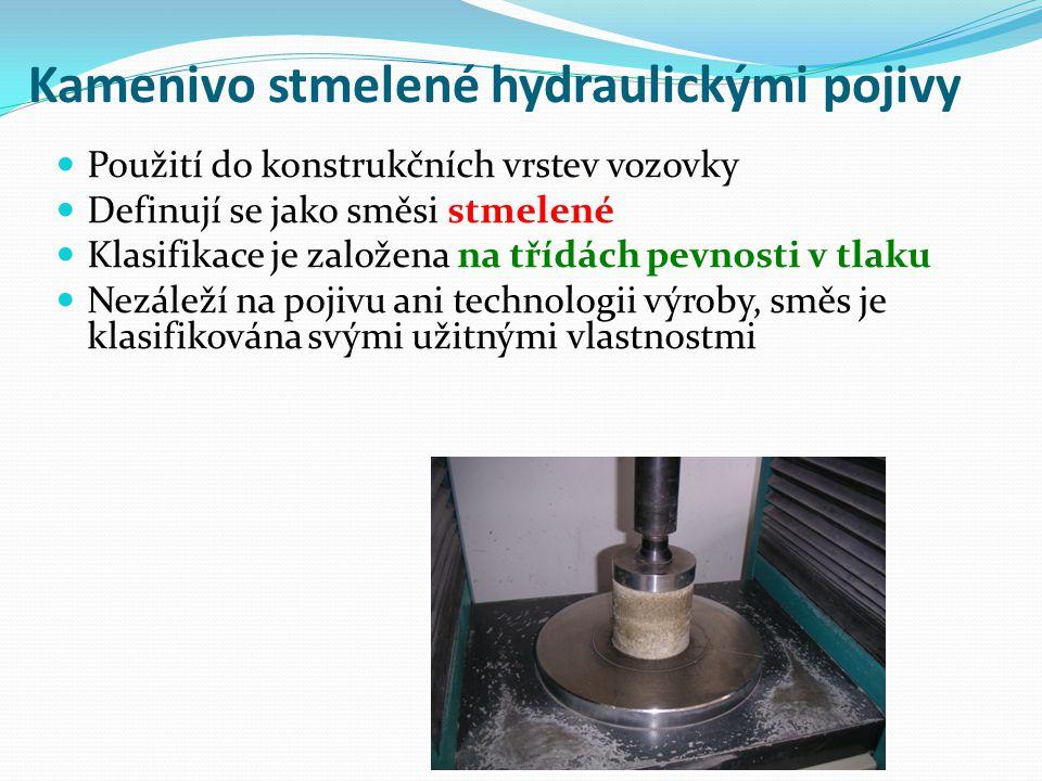 Kamenivo stmelené hydraulickými pojivy Použití do konstrukčních vrstev vozovky Definují se jako směsi stmelené Klasifikace je založena na třídách pevnosti v tlaku Nezáleží na pojivu ani technologii výroby, směs je klasifikována svými užitnými vlastnostmi