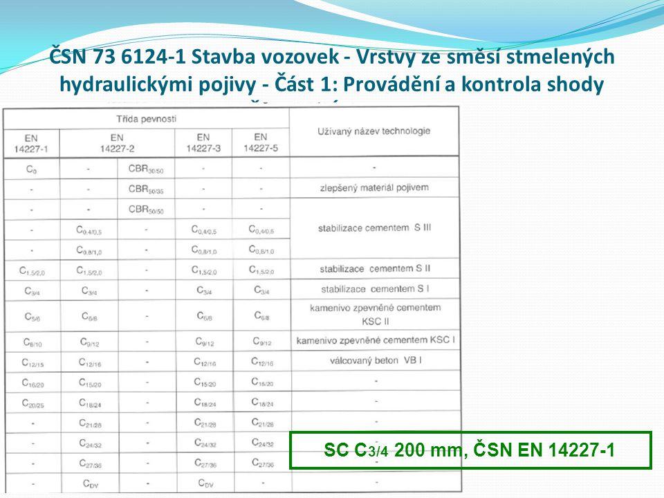 ČSN 73 6124-1 Stavba vozovek - Vrstvy ze směsí stmelených hydraulickými pojivy - Část 1: Provádění a kontrola shody PŘEVODNÍ TABULKY SC C 3/4 200 mm, ČSN EN 14227-1
