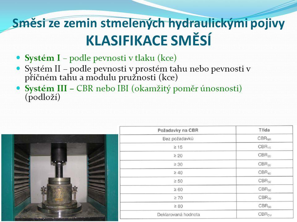 Směsi ze zemin stmelených hydraulickými pojivy KLASIFIKACE SMĚSÍ Systém I – podle pevnosti v tlaku (kce) Systém II – podle pevnosti v prostém tahu nebo pevnosti v příčném tahu a modulu pružnosti (kce) Systém III – CBR nebo IBI (okamžitý poměr únosnosti) (podloží)