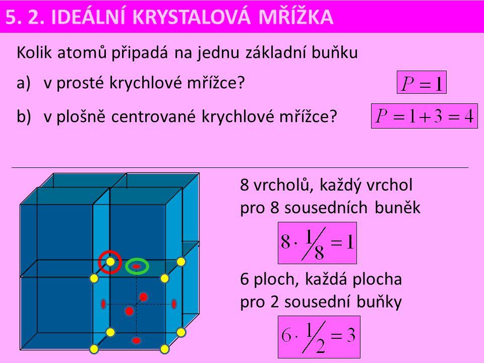 5. 2. IDEÁLNÍ KRYSTALOVÁ MŘÍŽKA Kolik atomů připadá na jednu základní buňku a)v prosté krychlové mřížce? b)v plošně centrované krychlové mřížce? 8 vrc