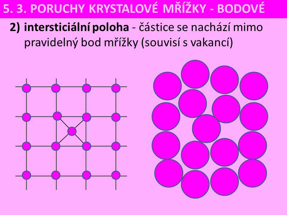 2)intersticiální poloha - částice se nachází mimo pravidelný bod mřížky (souvisí s vakancí) 5. 3. PORUCHY KRYSTALOVÉ MŘÍŽKY - BODOVÉ