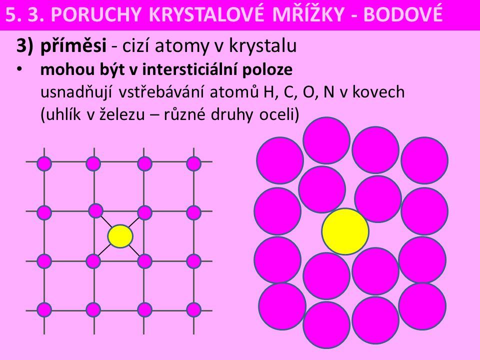 3)příměsi - cizí atomy v krystalu mohou být v intersticiální poloze usnadňují vstřebávání atomů H, C, O, N v kovech (uhlík v železu – různé druhy ocel