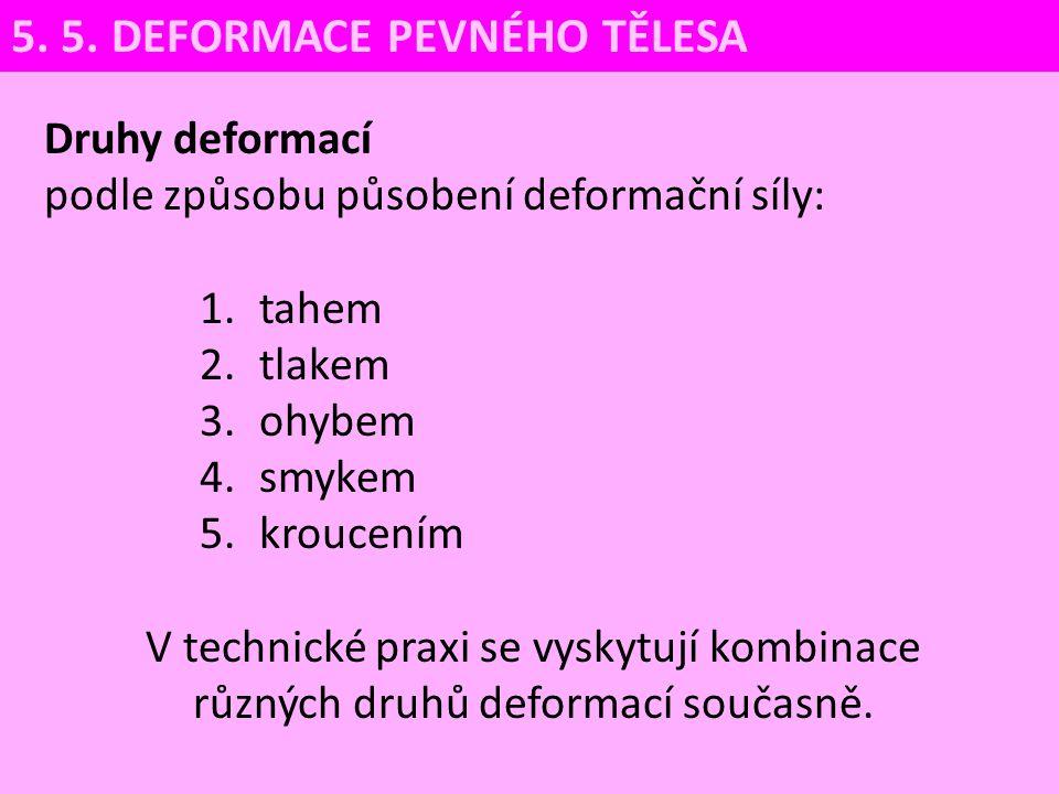 Druhy deformací podle způsobu působení deformační síly: 1.tahem 2.tlakem 3.ohybem 4.smykem 5.kroucením V technické praxi se vyskytují kombinace různýc