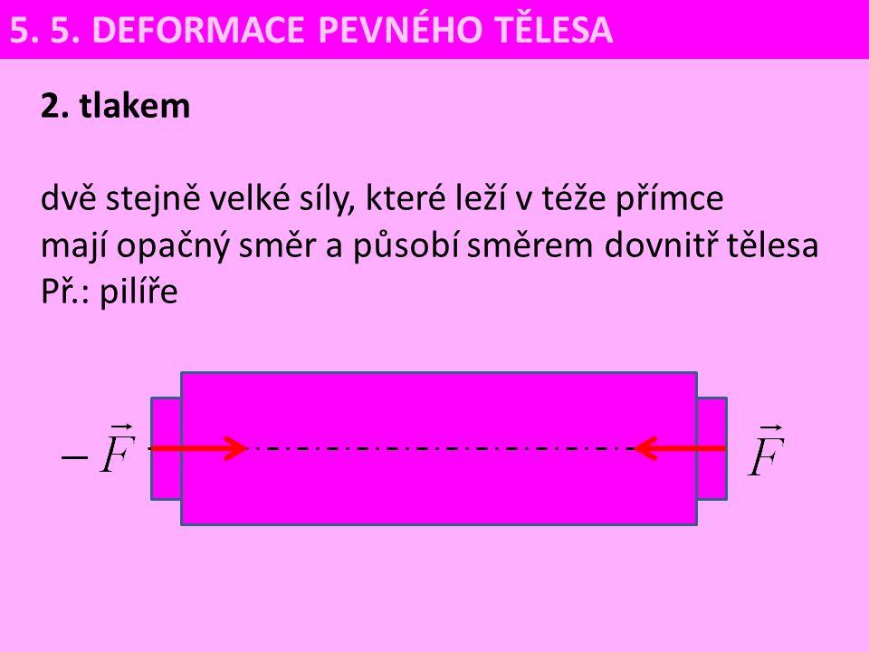 2. tlakem dvě stejně velké síly, které leží v téže přímce mají opačný směr a působí směrem dovnitř tělesa Př.: pilíře 5. 5. DEFORMACE PEVNÉHO TĚLESA