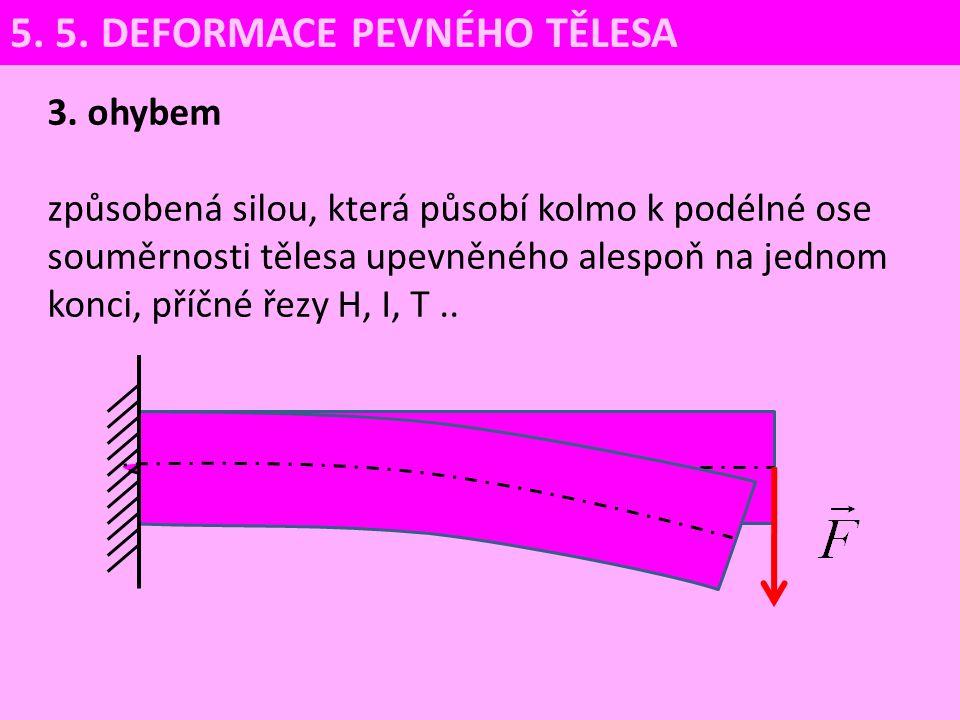 3. ohybem způsobená silou, která působí kolmo k podélné ose souměrnosti tělesa upevněného alespoň na jednom konci, příčné řezy H, I, T.. 5. 5. DEFORMA