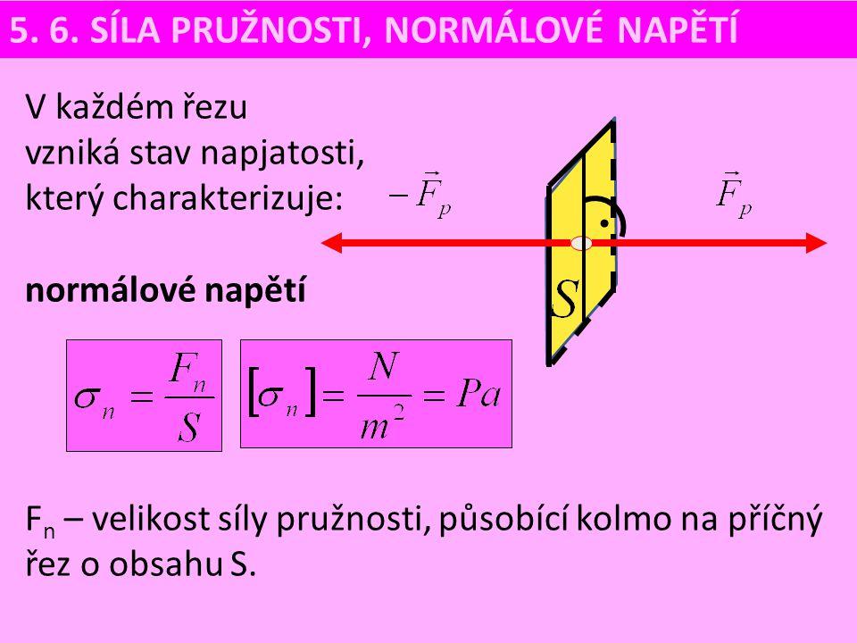 V každém řezu vzniká stav napjatosti, který charakterizuje: normálové napětí F n – velikost síly pružnosti, působící kolmo na příčný řez o obsahu S. 5