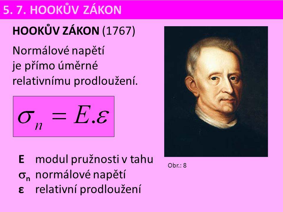 E modul pružnosti v tahu  n normálové napětí ε relativní prodloužení HOOKŮV ZÁKON (1767) Normálové napětí je přímo úměrné relativnímu prodloužení. 5.