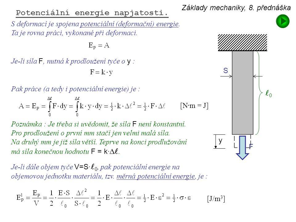 Základy mechaniky, 8. přednáška Potenciální energie napjatosti. S deformací je spojena potenciální (deformační) energie. Ta je rovna práci, vykonané p