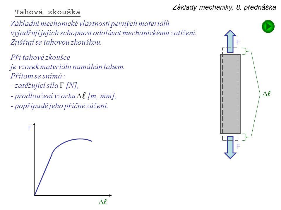 Základy mechaniky, 8. přednáška Základní mechanické vlastnosti pevných materiálů vyjadřují jejich schopnost odolávat mechanickému zatížení. Zjišťují s