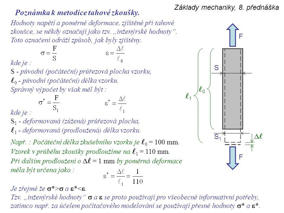 S1S1 Základy mechaniky, 8. přednáška Poznámka k metodice tahové zkoušky. Hodnoty napětí a poměrné deformace, zjištěné při tahové zkoušce, se někdy ozn