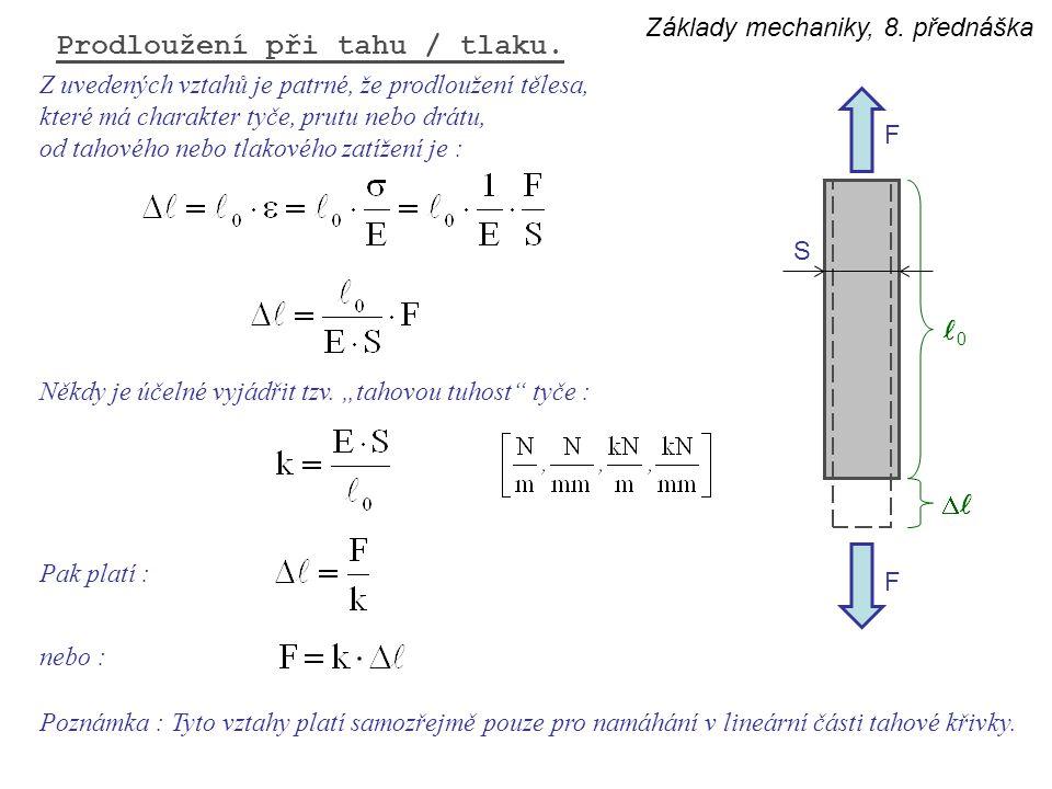 Základy mechaniky, 8. přednáška Prodloužení při tahu / tlaku. F F  0 S Z uvedených vztahů je patrné, že prodloužení tělesa, které má charakter tyče,