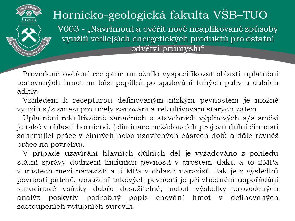 Hornicko-geologická fakulta VŠB–TUO Provedené ověření receptur umožnilo vyspecifikovat oblasti uplatnění testovaných hmot na bázi popílků po spalování